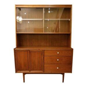 Drexel Declaration Walnut Lighted Display Cabinet w/ Glass Doors