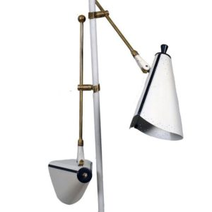 Mid Century White Metal & Brass Floor Lamp with Three Lights
