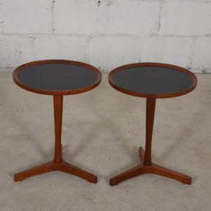 Pair of Round Cocktail Tables by Hans Andersen with Black Top