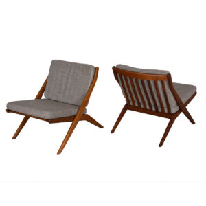 Dux Swedish Modern 'Scissor' Lounge Chairs – Pair