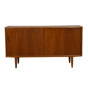 Condo Sized (54.5″) Danish Modern Teak Sideboard / Media Cabinet