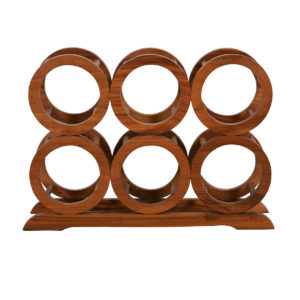 Teak 6-Bottle Wine Rack