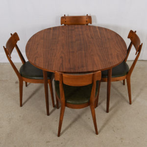 1950's Expanding Walnut Dining Table + 6 Dining Chairs