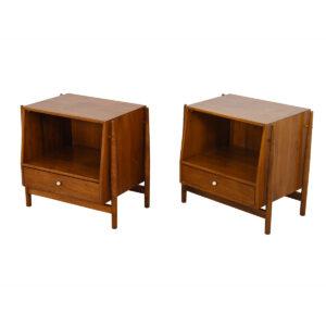 Pair of Mid Century Drexel Declaration Walnut Nightstands / Side Tables