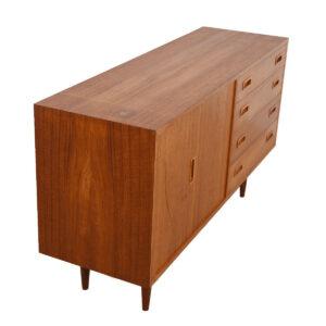 Compact Danish Modern Teak Bifold Sideboard / Media Cabinet
