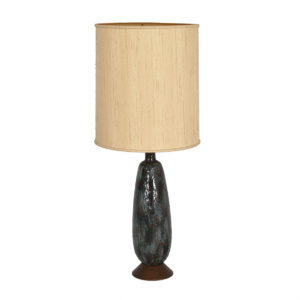 MCM Tall Art Pottery Table Lamp Stunning Drip / Lava Style Glaze