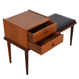 Mid Century Modern Low 'Telephone Table' / Padded Bench