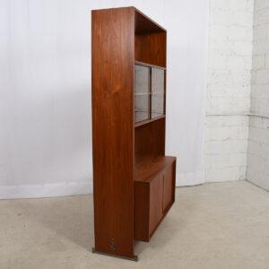 Hans Wegner Teak Single Column Wall Unit w / Glass Door Display Case