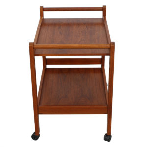 Double-Handled Danish Teak Rolling Bar Cart