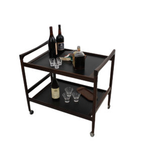 Danish Rosewood Serving / Bar Cart with Curvaceous Handles