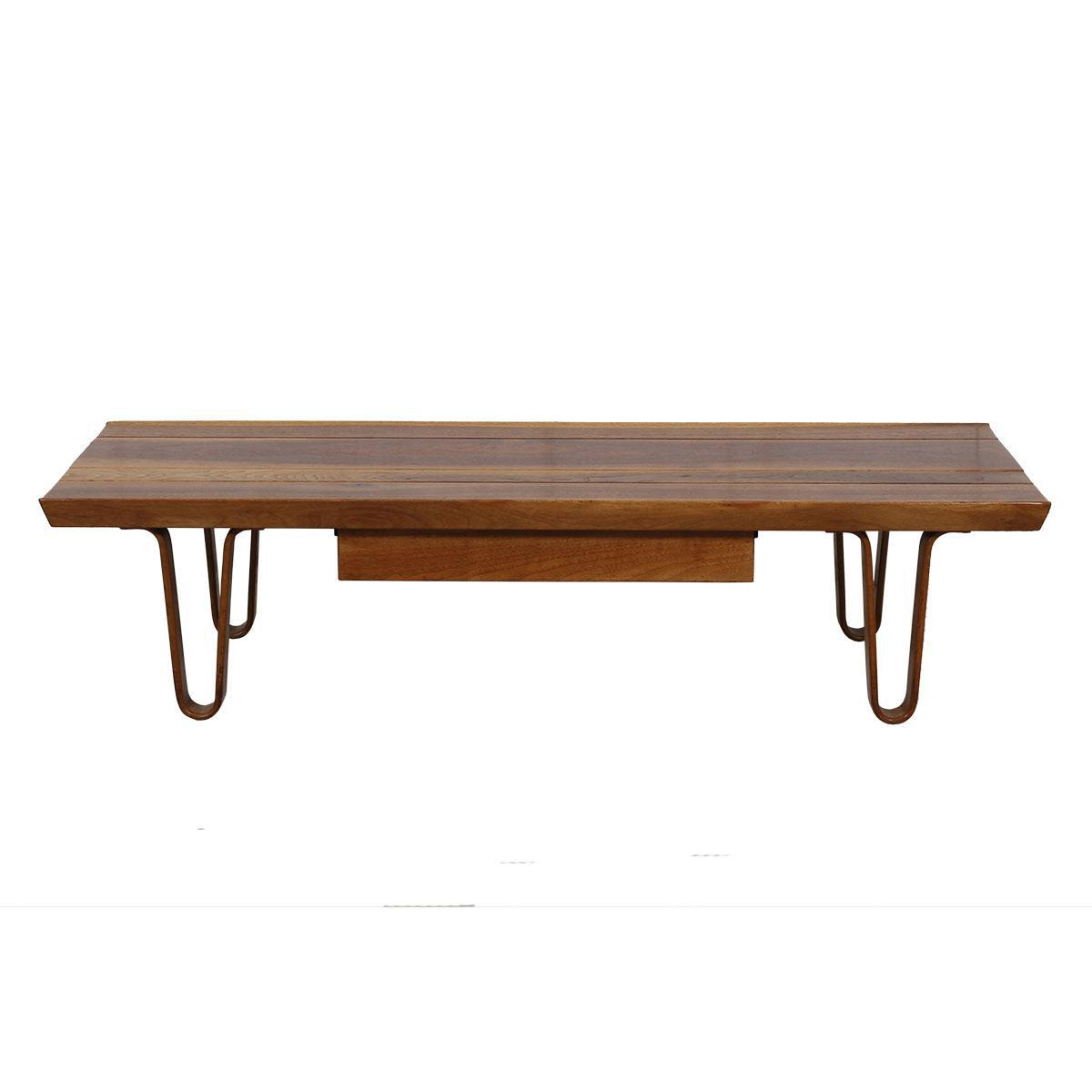 """437e4ef732cf """"Long John"""" Coffee Table   Bench with Drawer by Edward Wormley for Dunbar  ..."""