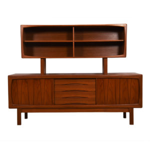 Danish Modern Rounded-Edge Teak Sideboard w/ Separate Display Top