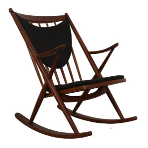 Bramin Danish Teak Designer Rocking Chair w/ Charcoal Cushions