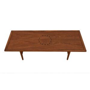 Mid Century Modern Walnut Coffee Table w/ Dark Inlays