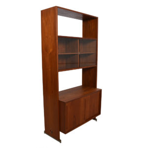 Hans Wegner Single Column Teak Wall Unit w/ Glass Door Display Case