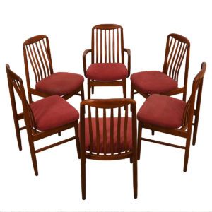 Set of 6 Danish Modern Teak Curved Slat-back Dining Chairs