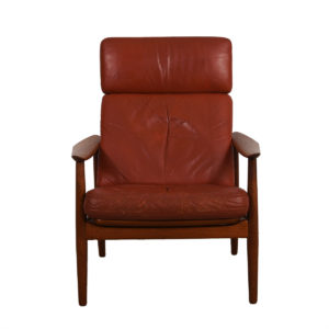 Arne Vodder Danish Teak Adjustable Lounge Chair w/ 'Blood Orange' Leather Cushion
