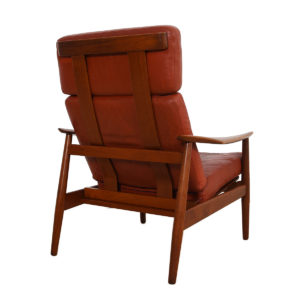 Arne Vodder Danish Teak Lounge Chair w / 'Blood Orange' Leather Cushion