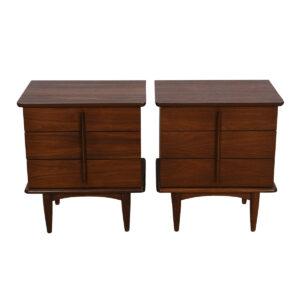 Pair of Mid Century Modern Walnut Nightstands / Chests