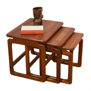 Set of 3 Danish Modern Thick Solid Teak Nesting Tables