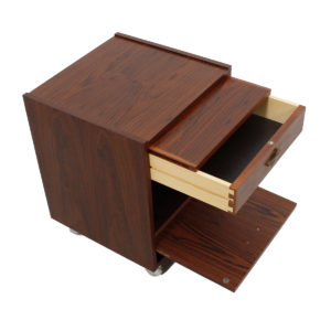Pair of Danish Modern Rosewood Rolling Nightstands / Chests