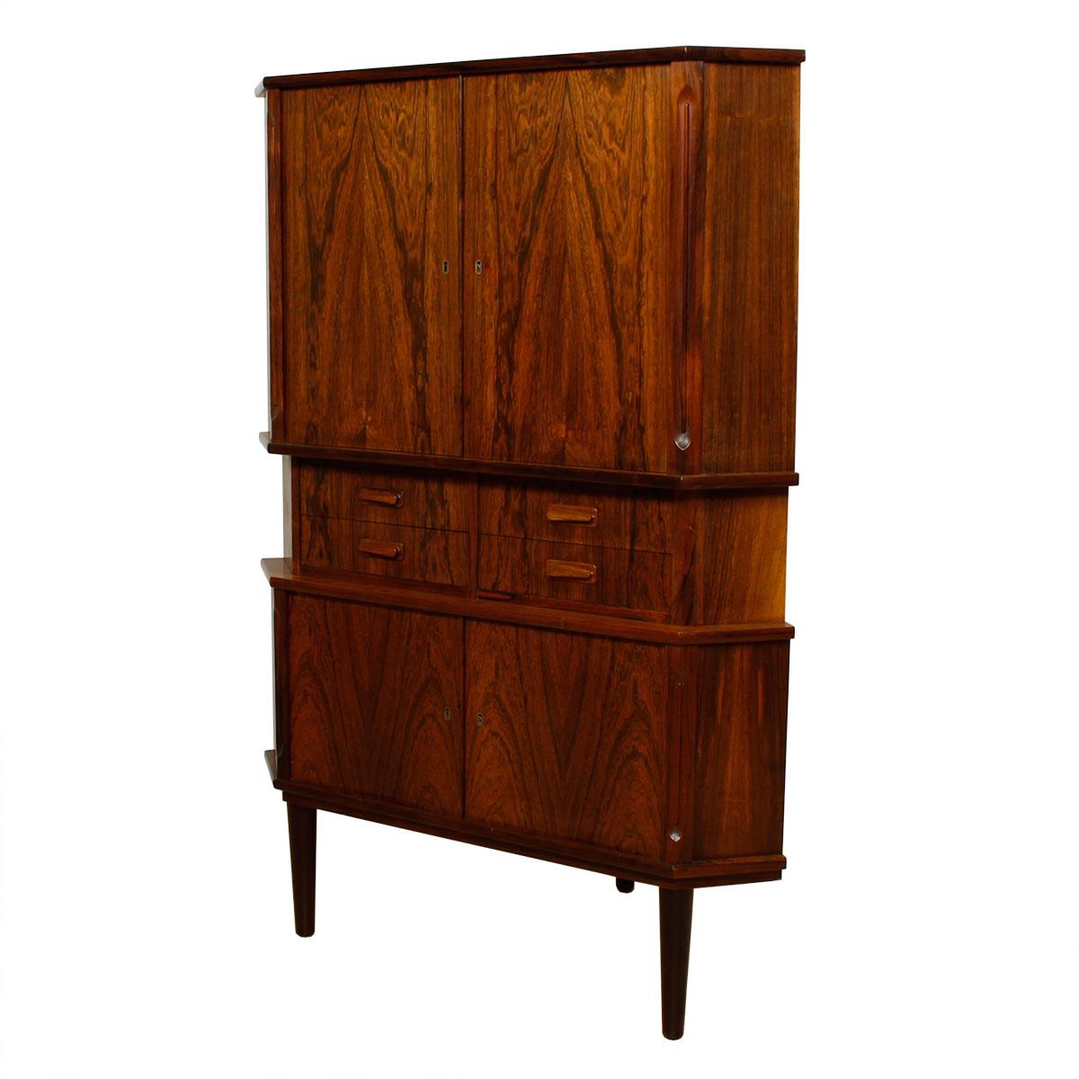 Danish Rosewood Locking Door Corner Bar Cabinet W/ Drawers
