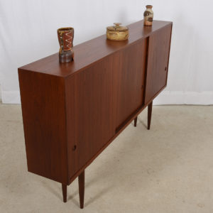 Super-Slim Hans Wegner Style Danish Teak Tall Display Cabinet / Highboard