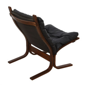 Westnofa Black Leather & Rosewood Siesta Chair + Otto