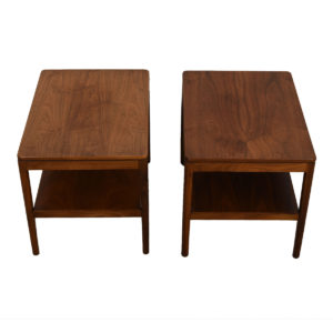 Pair of Mid Century Walnut End / Accent Tables w/ Shelf