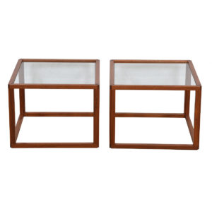 Pair of Danish Modern Teak Frame Glass Top Accent / Side Tables
