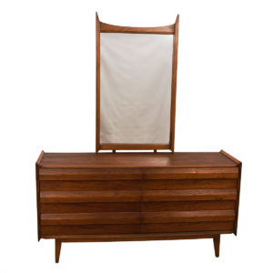Compact Mid Century Walnut Long Dresser w/ Geometric Pulls