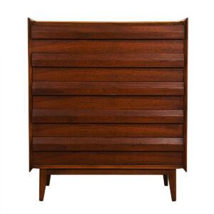 Compact Walnut Mid Century Tall Dresser w/ Geometric Pulls