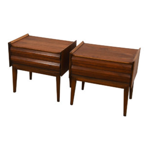 Pair of Mid Century Walnut Geometric Pull Nightstands / End Tables