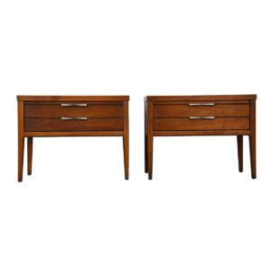 Pair of MCM Walnut Nightstands / Chests w/ Bowtie Inlays