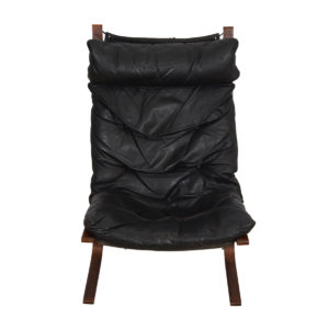 Westnofa Black Leather Tall Siesta Chair & Ottoman