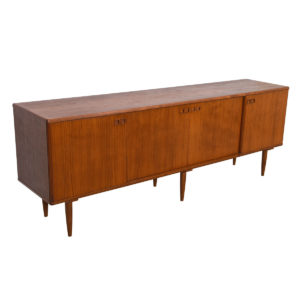 88″ Long & Sleek Danish Modern Teak Designer Sideboard