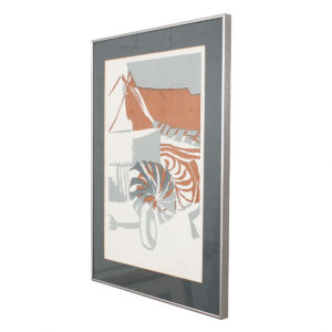 Vintage Mid Century Gray + Tan Abstract Organic Shapes Artwork