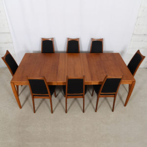 Danish Teak Expanding Dining Table by HW Klein