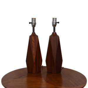 Pair of Solid Teak Geometric 'Faceted' Lamps
