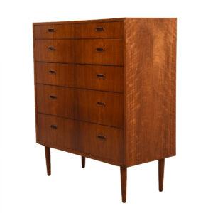 Danish Modern Walnut Tall Chest / Dresser by Falster