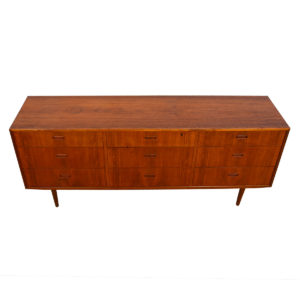 Danish Modern Walnut 9 Drawer Long Dresser / Sideboard by Falster