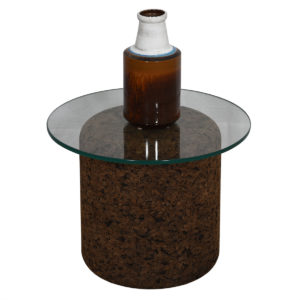Mid-Century Glass Top Accent Table w/ Cork Base