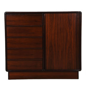 Danish Rosewood Tambour Door Gentlemen's Chest / Tall Dresser