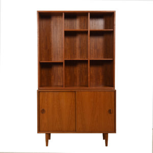 2-Piece Danish Teak Adjustable Display / Storage Cabinet