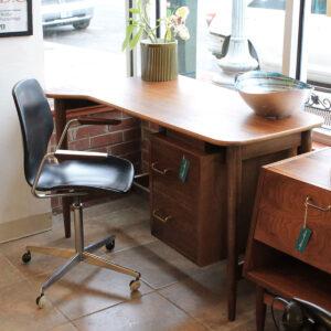 Norwegian Modern Adjustable Black Upholstered Desk Chair w/ Wooden Arms