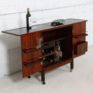 Danish Modern Rosewood  Expanding Bar / Storage Cart