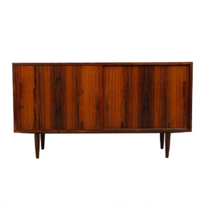 Compact Danish Rosewood Sliding Door Sideboard / Media Cabinet