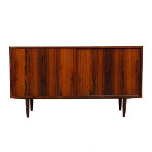 Compact Danish Rosewood Sliding Door Sideboard / Media Cabinet