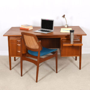 Danish Modern Teak Large Floating Top Desk