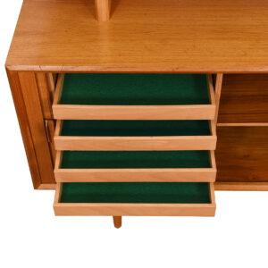 Compact Danish Teak Tambour Sideboard / Room Divider w/ Glass Display Top